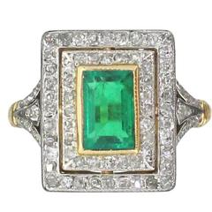 Edwardian Colombian Emerald Ring
