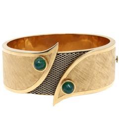 Luise Emerald Gold Cuff Bracelet