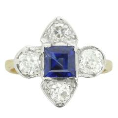 Edwardian Diamond and Sapphire Cluster Ring, circa 1910