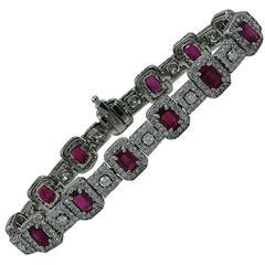 Rubies and Diamonds White Gold Bracelet
