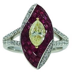 Rubies Yellow and White Diamonds Platinum Ring