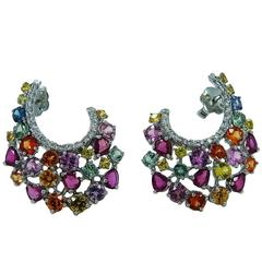 Rubies Diamonds Multicolored Sapphires White Gold Earrings
