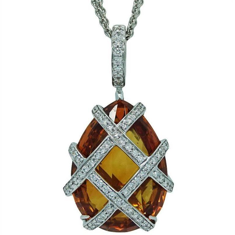 White Gold Pendant and Necklace with Pear Shaped Madeira Citrine and Diamonds
