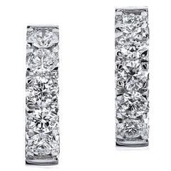 H & H 1.07 Carat Diamond White Gold Huggie Hoop Earrings