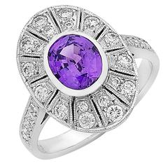 Purple Sapphire Diamond Gold Cocktail Ring