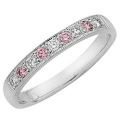 White Diamond and Argyle Pink Diamond Ring