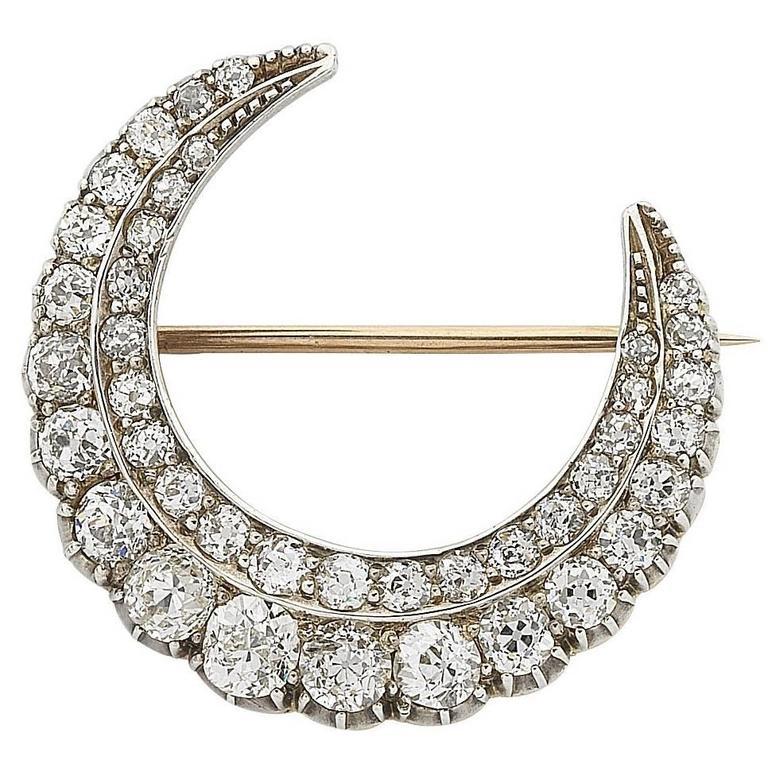 Victorian 9ct Gold & Silver Crescent Moon Diamond Brooch