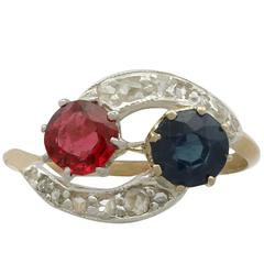 1910s Antique Red Spinel and 1.02 Carat Sapphire Yellow Gold Twist Ring