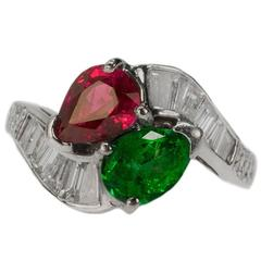 Burma Ruby Colombian Emerald Platinum Ring