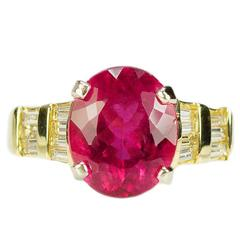 Rubellite Tourmaline Diamond Gold Ring
