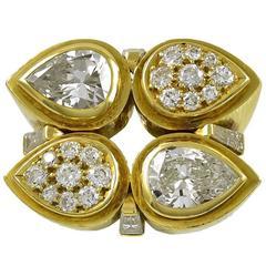 David Webb Diamond Gold cocktail Ring
