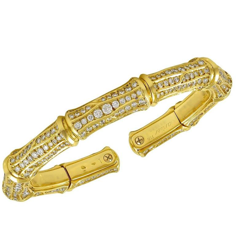 Cartier Diamond gold Bamboo Cuff Bangle bracelet