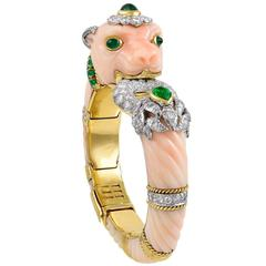 David Webb Coral Emerald Diamond Bangle Bracelet