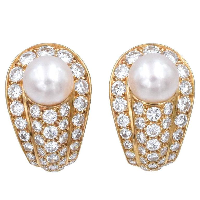Cartier Elegant Cultured Pearl Diamond Gold Earrings For Sale
