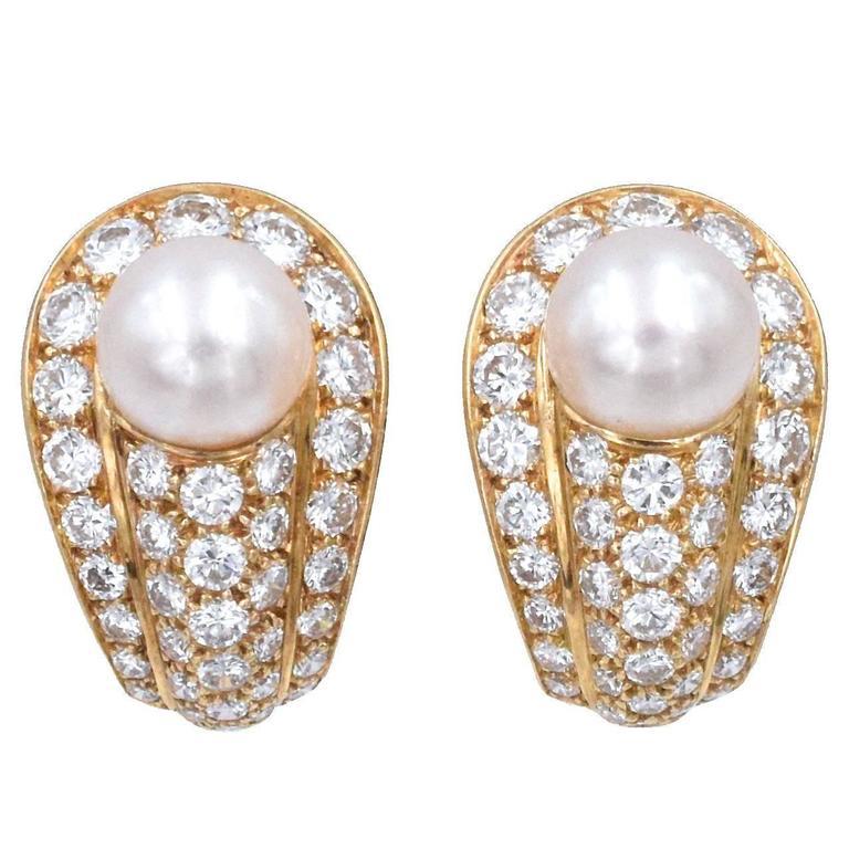 Cartier Elegant Cultured Pearl Diamond Gold Earrings 1