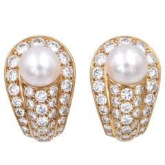Cartier Elegant Cultured Pearl Diamond Gold Earrings