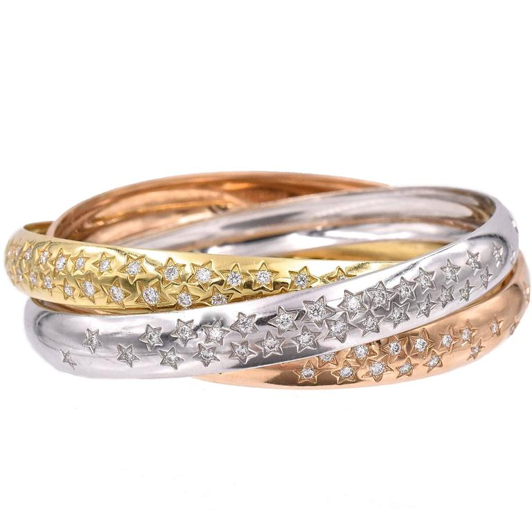 Cartier Trinity Three Color Gold Celestial Bangle Bracelet 1