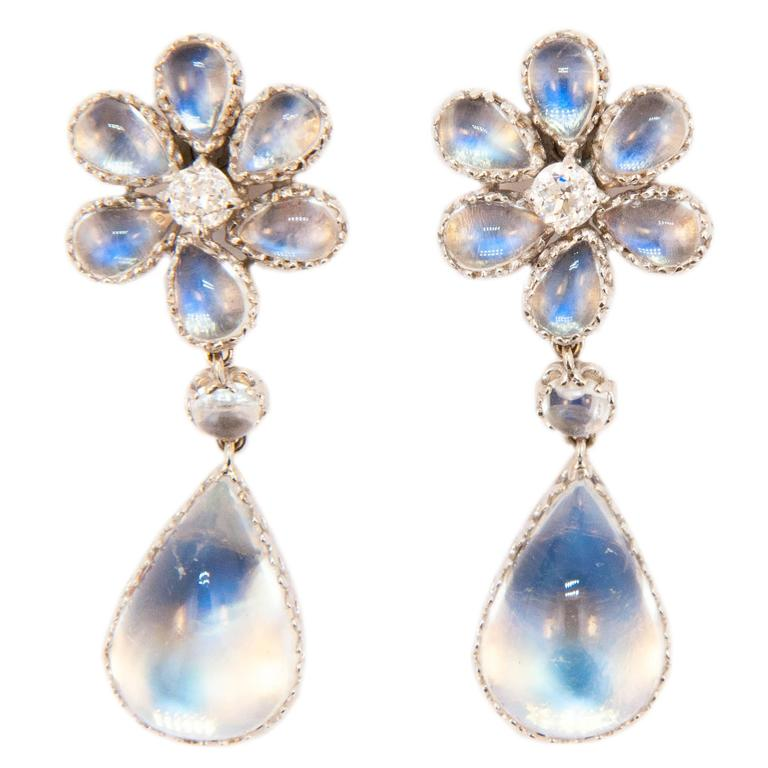 Laura Munder Moonstone Diamond White Gold Drop Earrings