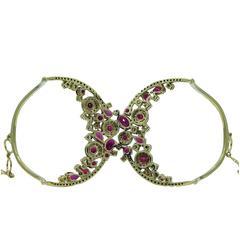 Burmese Rubies Diamonds Yellow Gold Cuff Bracelet