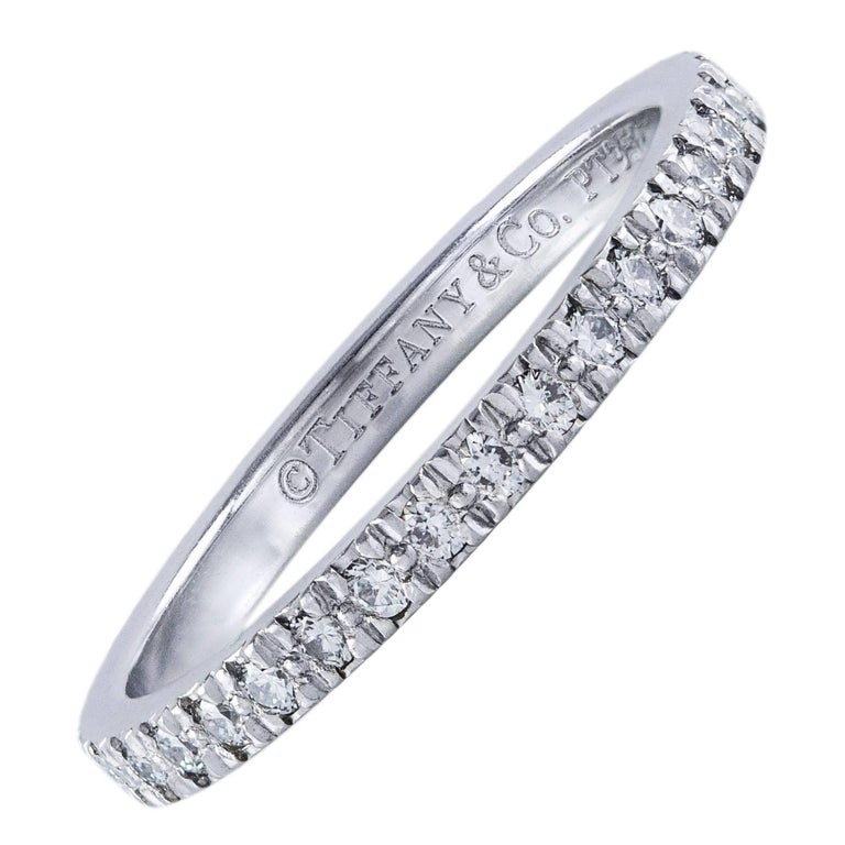 Tiffany & Co. Diamond Platinum Eternity Wedding Band Ring For Sale