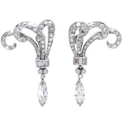 Diamond Platinum Pendant Earrings