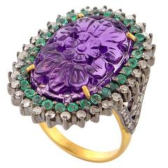 Carved Amethyst Emerald Diamond Ring