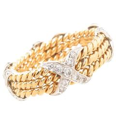 Tiffany & Co. Jean Schlumberger Diamond Gold X Band Ring
