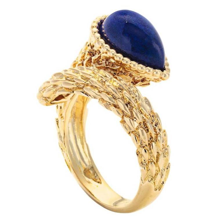 Boucheron Lapis Lazuli Gold Serpent Boheme Ring For Sale