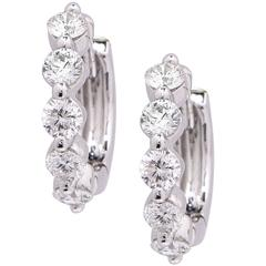 .60 Carat Diamond White Gold Small Hoop Earrings