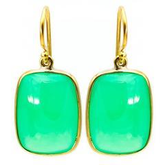 Rectangle Green Chrysoprase Yellow Gold Earrings