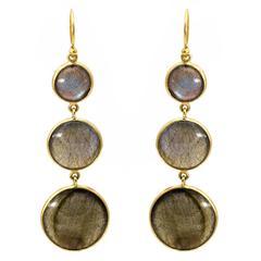 Round Circle Labradorite Yellow Gold Earrings