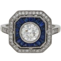 Art Deco Style Sapphire and Diamond Engagement Ring