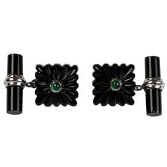 Carved Squared Onyx and Emeralds White Gold Cufflinks
