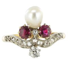 French Napoleon III Natural Pearl Ruby Diamond Duchess Ring