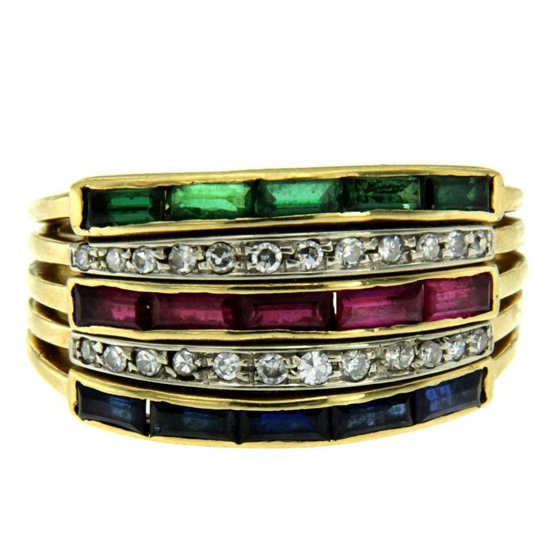 Sapphire Ruby Emerald Diamond Gold Ring For Sale