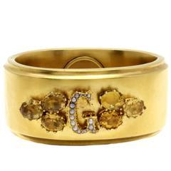 Luise Gold Topaz Pearl Cuff Bracelet
