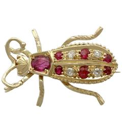 Ruby and Diamond Yellow Gold Insect Brooch, 1990s