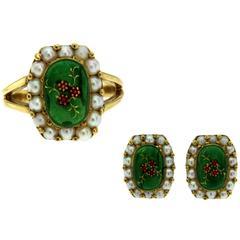Gold Enamel Pearl Ring and Earrings Set
