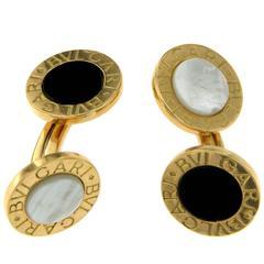 Bulgari Mother-of-Pearl Onyx Gold Cuff-Links