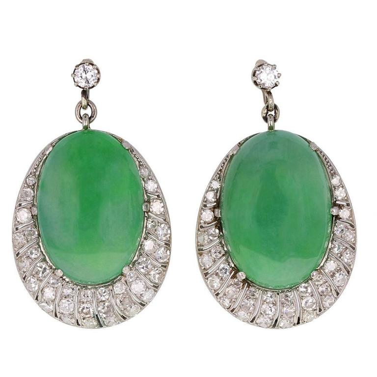 1920s Jadeite Cabochon Diamond Platinum Earrings