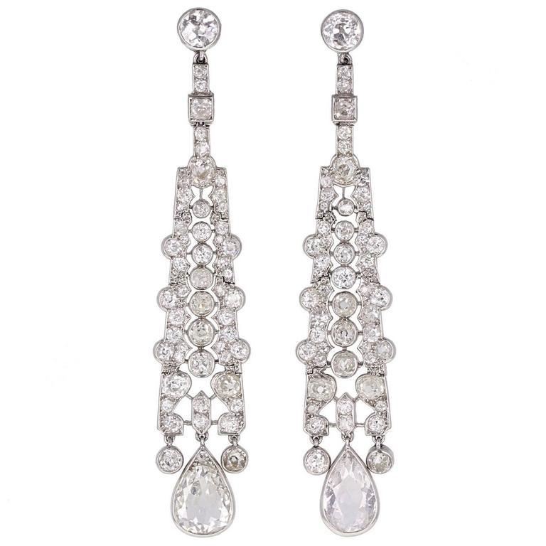 Art Deco Cartier  Diamond Platinum Drop Earrings 1