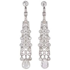 Art Deco Cartier  Diamond Platinum Drop Earrings