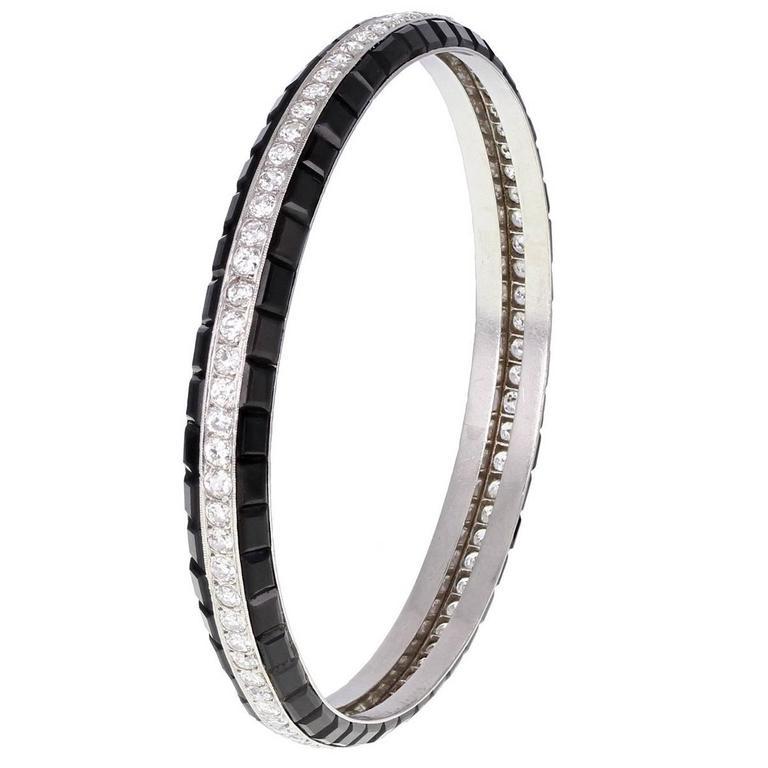 Rare Art Deco Van Cleef & Arpels Onyx Diamond Platinum Bangle Bracelet 1