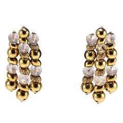 Boucheron Rock Crystal Diamonds Gold Earrings