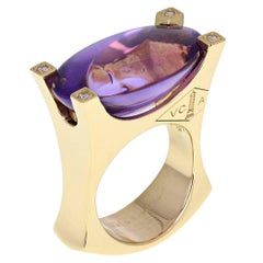 Van Cleef & Arpels Amethyst Gold Solitaire Cocktail Ring