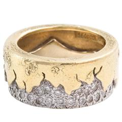 Abstract Gold and Diamond Ring