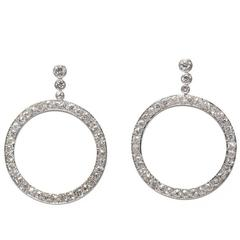 Boucheron Diamond Platinum Créole Earrings