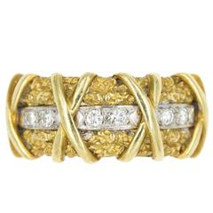 """Gold and Diamond """"Kisses"""" Ring"""