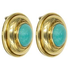 Persian Turquoise and Yellow Gold Clip-On Earrings