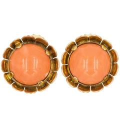 Coral and 18 Karat Gold Flower Earrings
